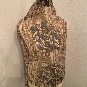 Accessories - Brown, Cream & Blue Chiffon Scarf Abstract Zebra